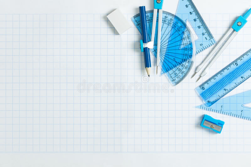 Set of geometry tool. Geometry set with compass, ruler and protractor stock image