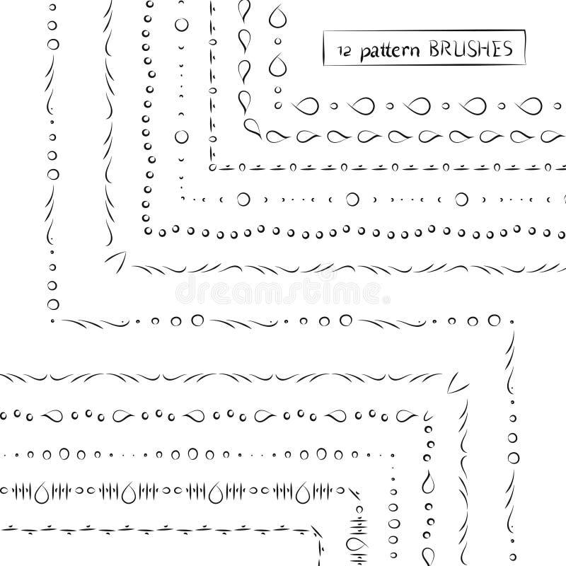 Set geometryczna etniczna ręka rysujący deseniowi muśnięcia, wektorowy illus royalty ilustracja