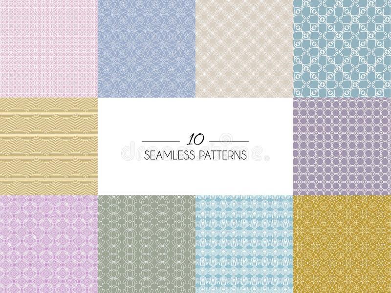 Set geometryczni bezszwowi wzory ilustracji