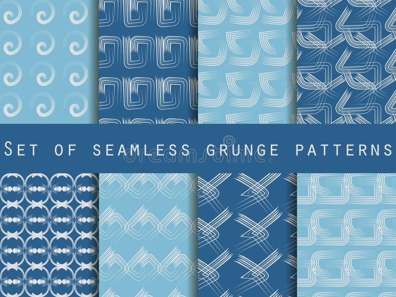Set geometryczni bezszwowi wzory Wzór linie Kolekcja wektorowe ilustracje ilustracji