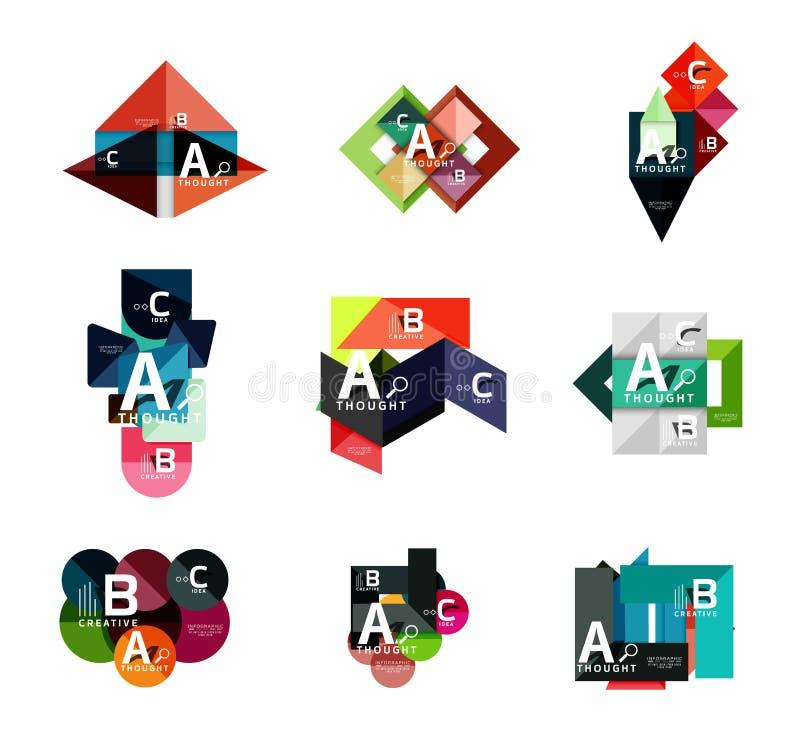 Set geometryczni infographic sztandary, papierowa informacja b c opci diagramy tworzyliśmy z kolorem kształtują royalty ilustracja