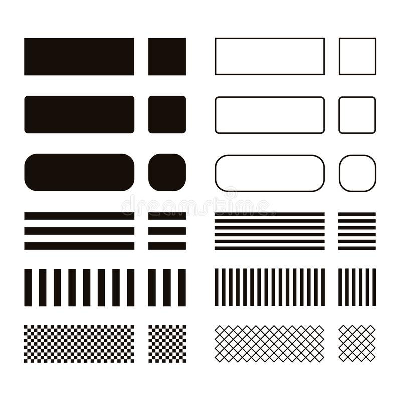 Set geometryczni kształty odizolowywający na białym tle ilustracji