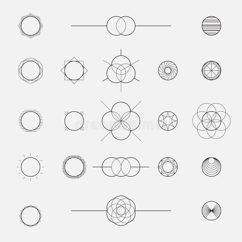 Set geometryczni kształty, okręgi, kreskowy projekt, wektor royalty ilustracja