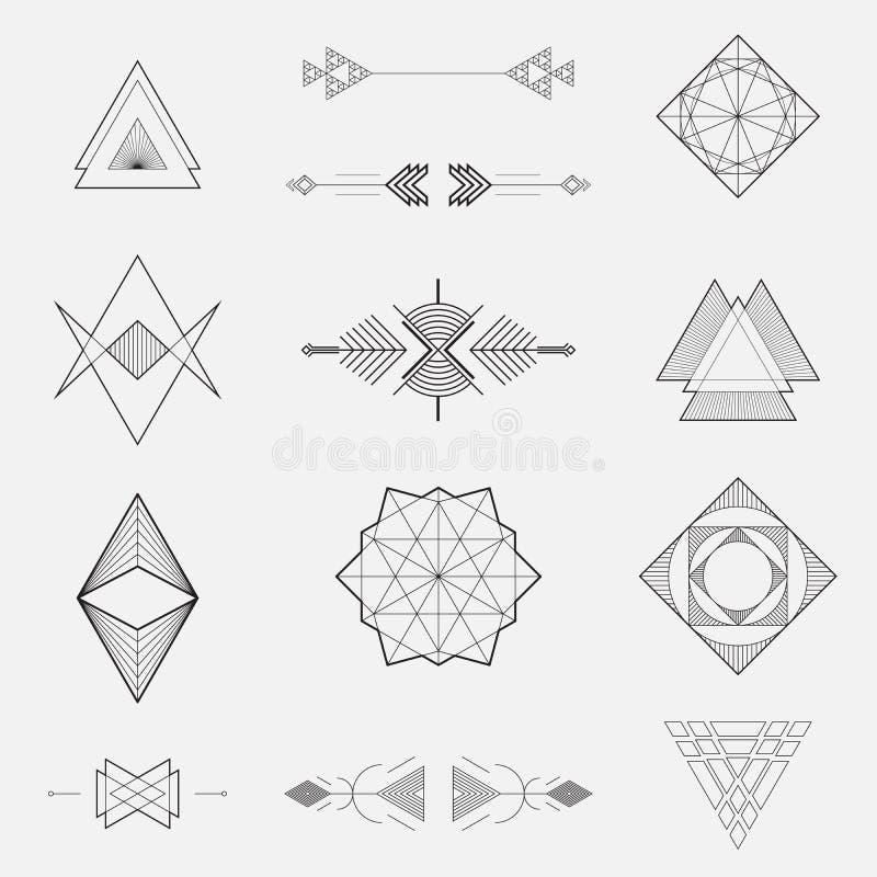 Set geometryczni kształty, trójboki, kreskowy projekt, ilustracji