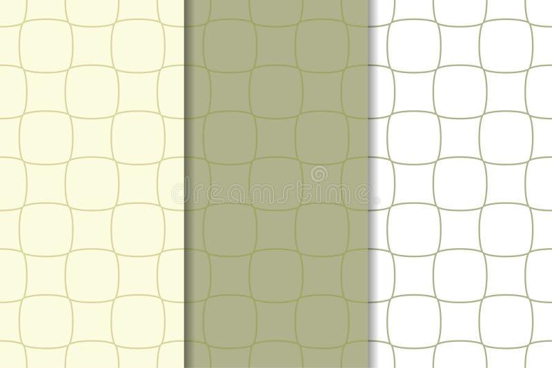 Set geometryczni ornamenty Oliwni zieleni i białych bezszwowi wzory royalty ilustracja