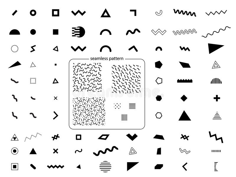 Set geometryczni retro Memphis stylu elementy i bezszwowy wzór royalty ilustracja