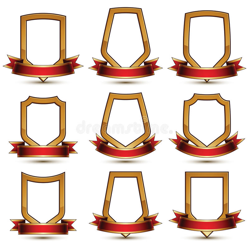Set geometryczni wektorowi złoci elementy, gwiazdy royalty ilustracja