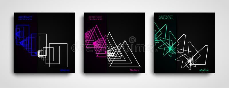 Set Geometryczny abstrakt kształtuje składy Modny minimalny projekt Nowożytne geometryczne kształta koloru pokrywy ustawiać ilustracja wektor