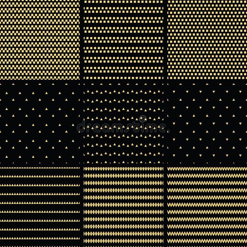Set geometryczny kreskowy złocisty abstrakcjonistyczny bezszwowy wzór z triang ilustracji