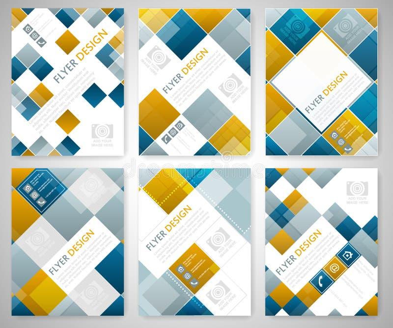Set geometryczny ulotka szablonu projekt z błękita i placu czerwonego elementami Okładkowy układ, broszurka lub korporacyjny szta ilustracji