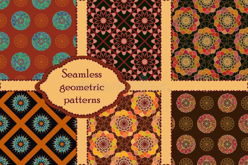 Set 6 geometrycznych bezszwowych wzorów ilustracja wektor