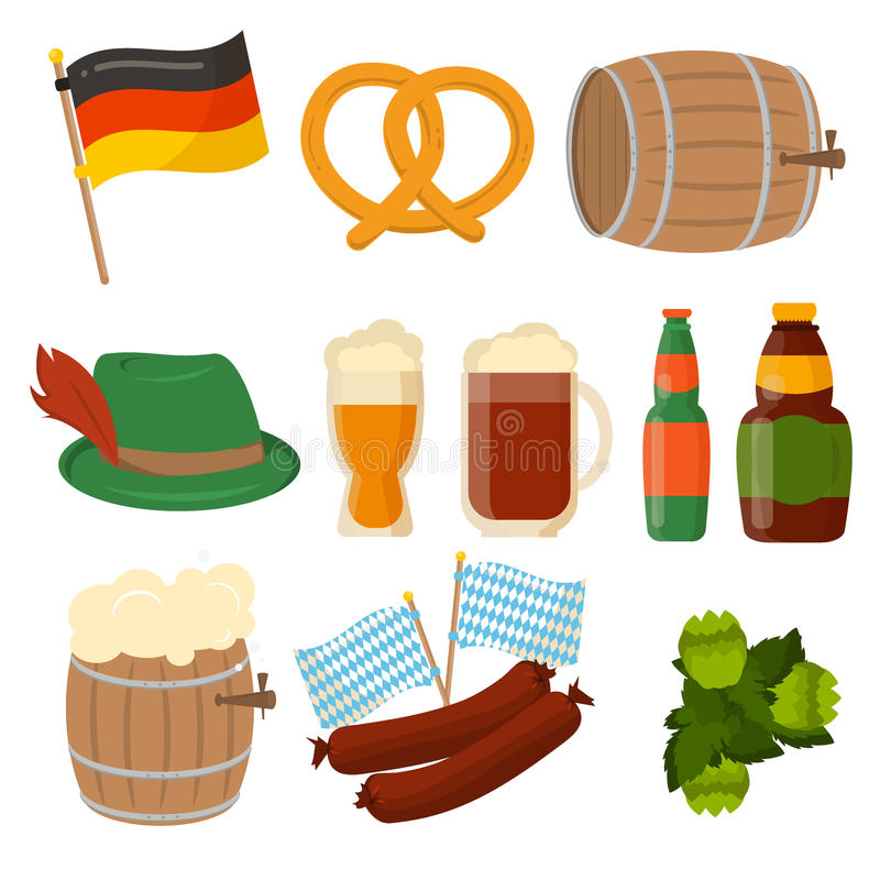 Set of German Oktoberfest vector elements . Set of German Oktoberfest vector sausage bavarian design elements on white background. Beer Oktoberfest German stock illustration