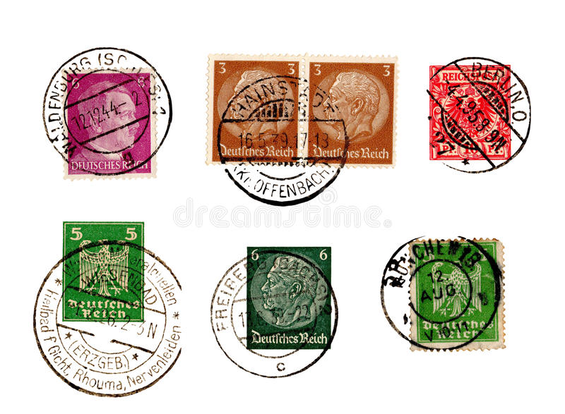 Set of German Reich stamps royalty free stock image