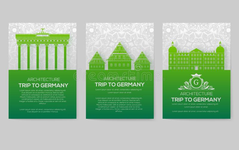 Set of Germany country ornament illustration concept. Art traditional, poster, book, poster, abstract, ottoman motifs stock photography