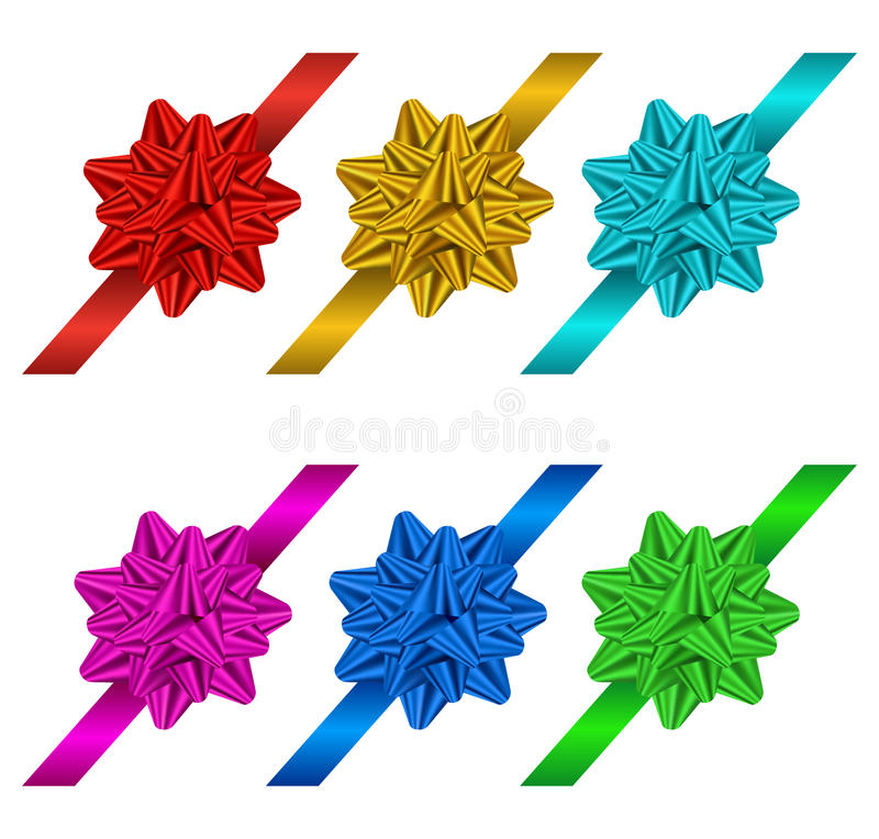 Set Geschenkbögen und -farbbänder vektor abbildung