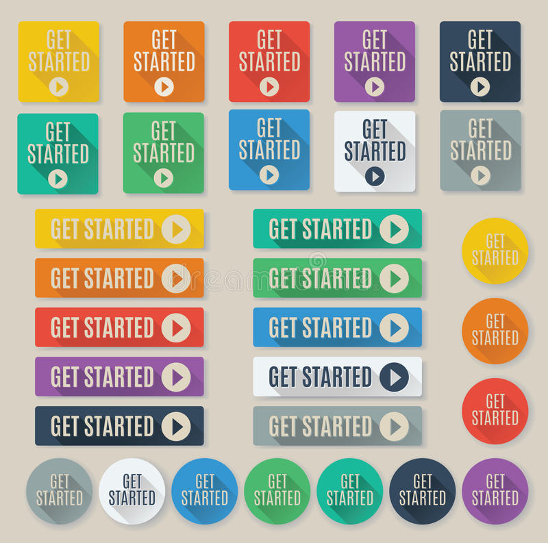 Set of Get Started call to action web buttons. Set of flat web buttons with call to action text that says get started. Buttons feature popular color palette for vector illustration