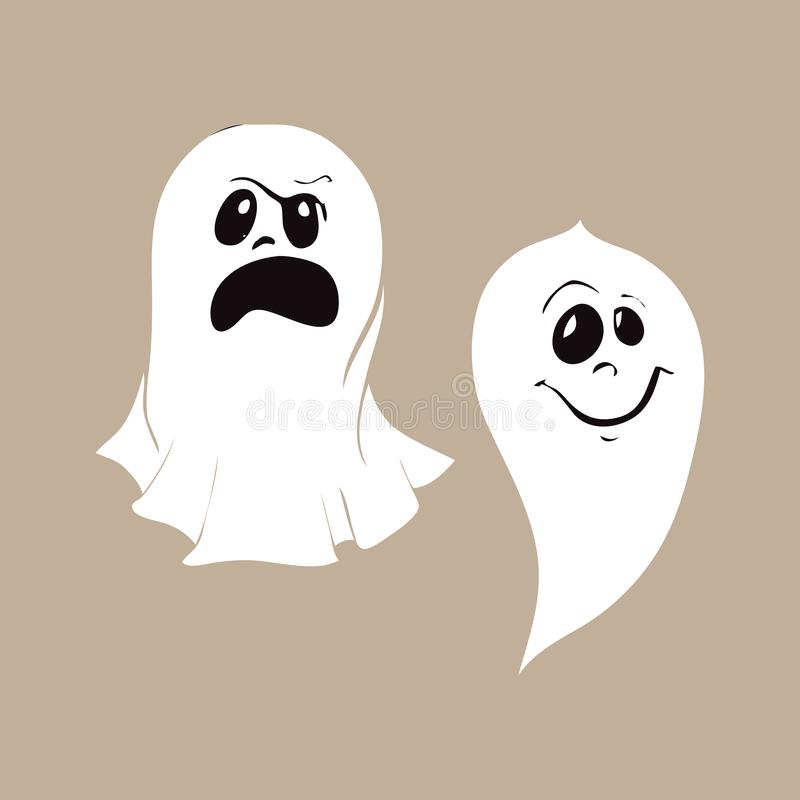 Set of ghost characters emoticons isolated on white background. stock illustration