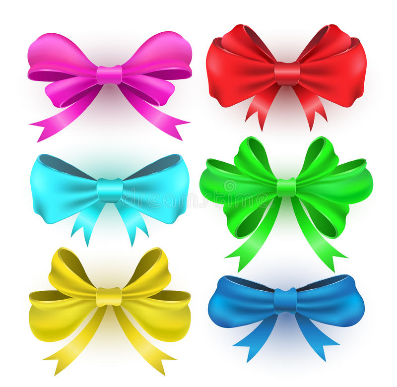 Free Set Gift Bows With Ribbons. Royalty Free Stock Image - 44162296