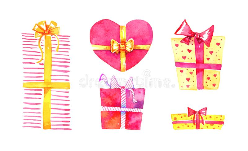 Set of gift boxes. Hand drawn watercolor cartoon sketch illustration. Red and yellow boxes square and heart shape royalty free illustration