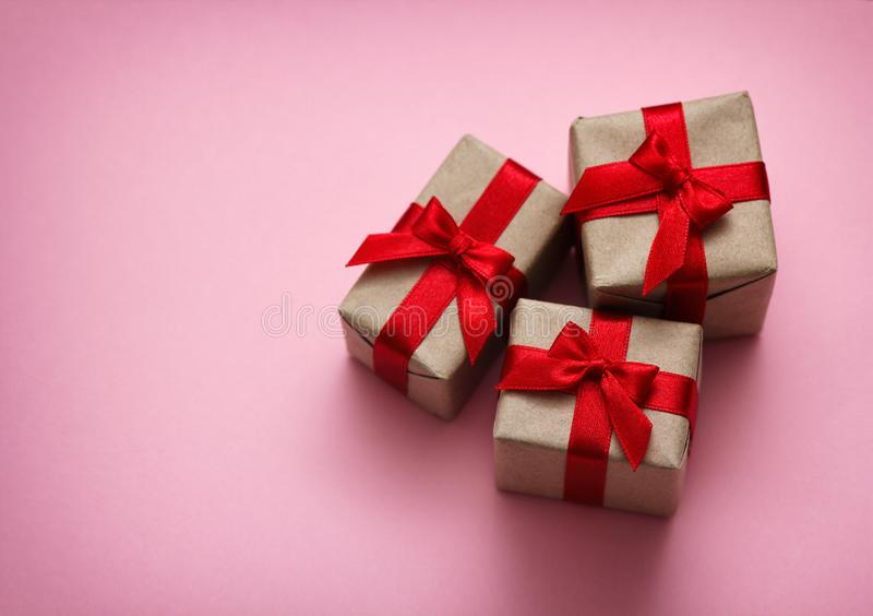 Set of gift boxes on pink solid background. Sale concept. Long horizontal banner photo format. Your text space stock photo