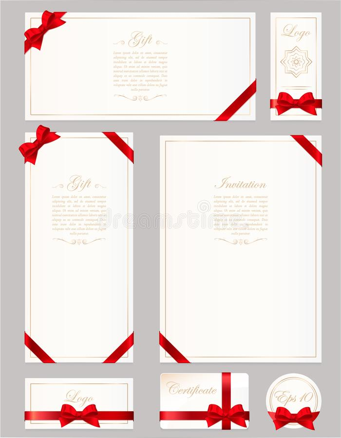 Set gift card, certificate and voucher on grey background. Wide gift bow with red ribbon and space frame for text. Template for royalty free illustration