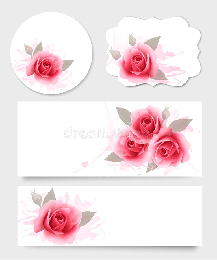 Set of gift cards and banners with beautiful flowers. stock illustration