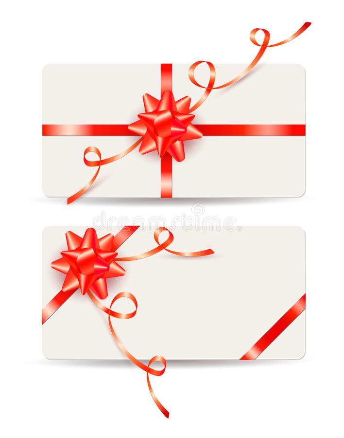 Set of gift cards with red bows and ribbons royalty free illustration