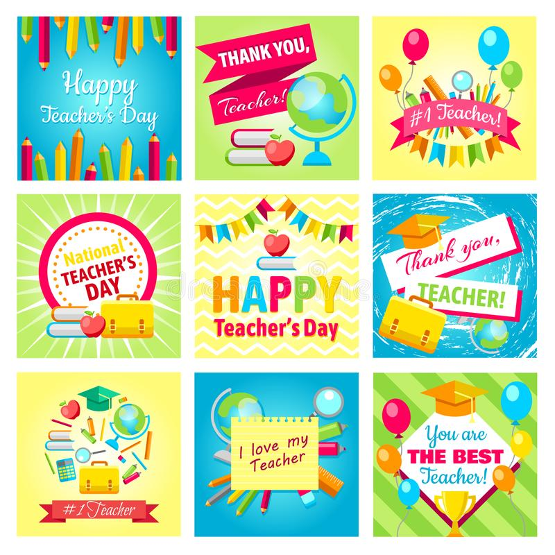 Set of gift cards for Teacher`s Day. Vector illustrations collection. stock illustration