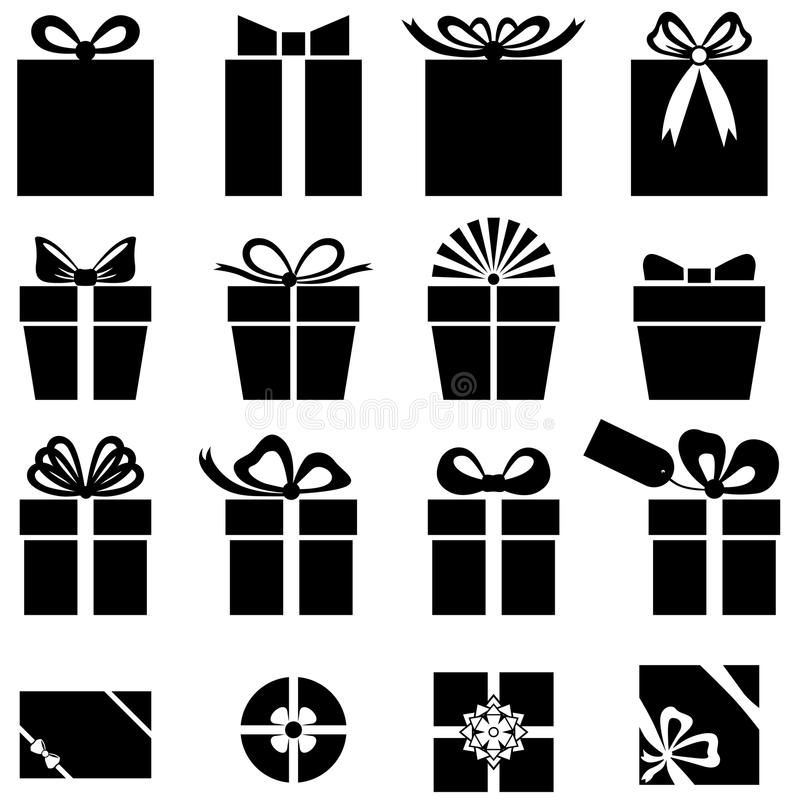 Set of gift icon. Set silhouette black-and-white image of gift icon