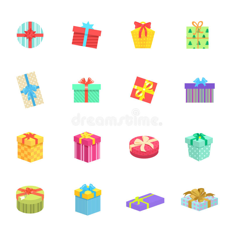 Set of Gifts Boxes Design Flat. Icon. Colorful gift wrap box present with bows and ribbon , gift package holiday christmas surprise for anniversary or birthday royalty free illustration