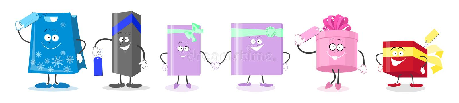 Set gifts. Cartoon animated characters gift boxes . Vector illus vector illustration