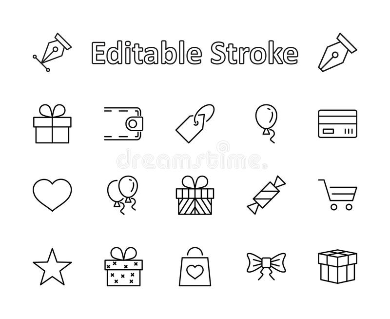 A set of gifts, vector line icons. Contains symbols gift cards, ribbons and more. Editable Stroke. 32x32 pixel. royalty free stock photos