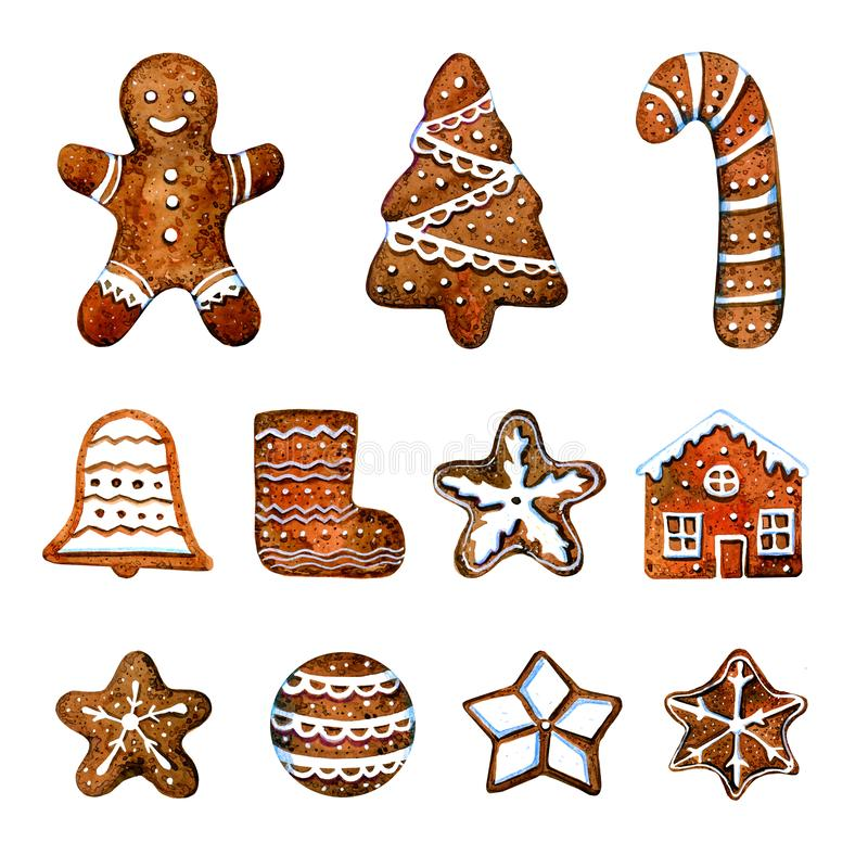 Set of gingerbread cookie figures. Man, christmas tree, bell, stars, house. Hand drawn watercolor illustration. Isolated on white background royalty free illustration