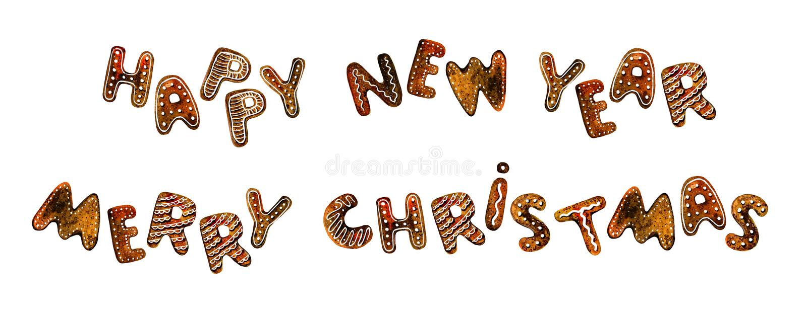 Set of gingerbread cookie lettering titles with wishes. `Happy New Year`, `Merry Christmas`. Hand drawn watercolor illustration vector illustration