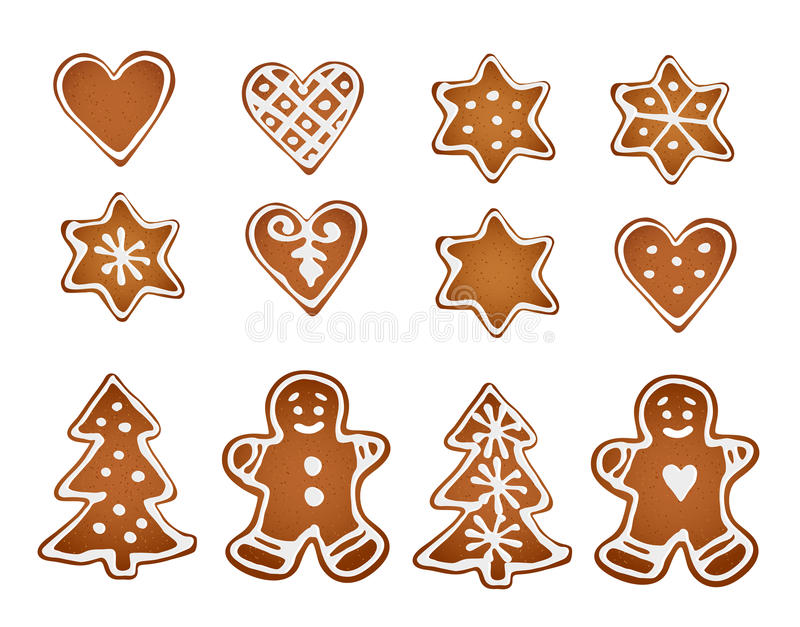 Set of gingerbread cookies. Decorative gingerbread man, stars, hearts and christmas tree with icing on white background. Vectors stock illustration