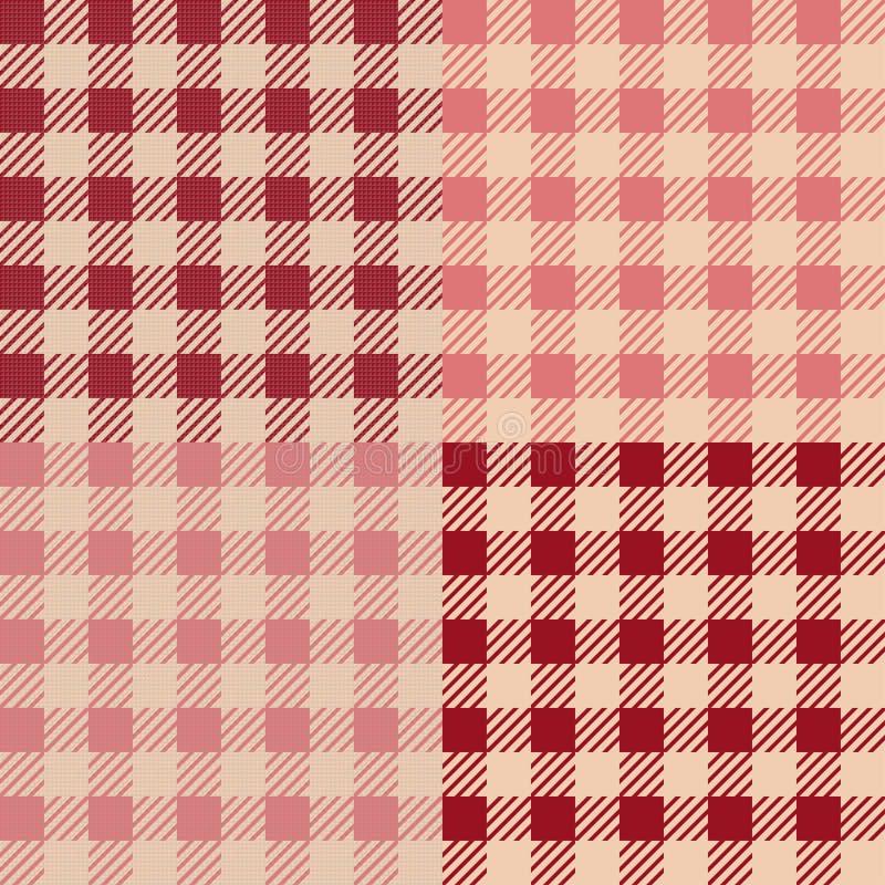 Set 4 gingham vichy wzoru dla pyknicznego koc lub tablecloth projekta royalty ilustracja