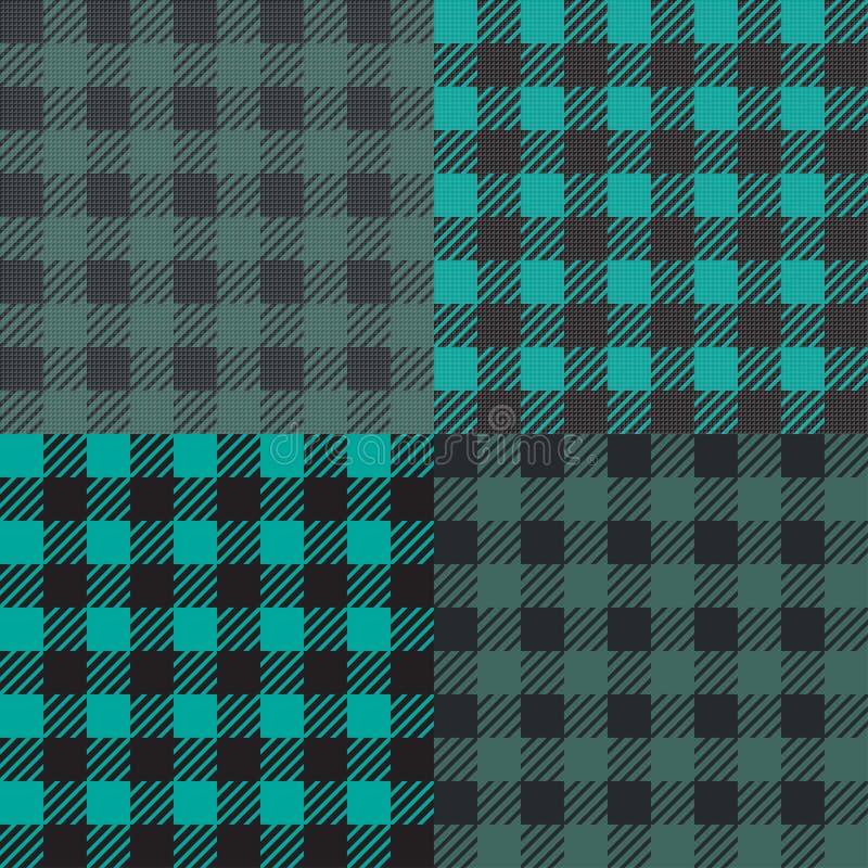 Set 4 gingham vichy wzoru dla pyknicznego koc lub tablecloth projekta ilustracji