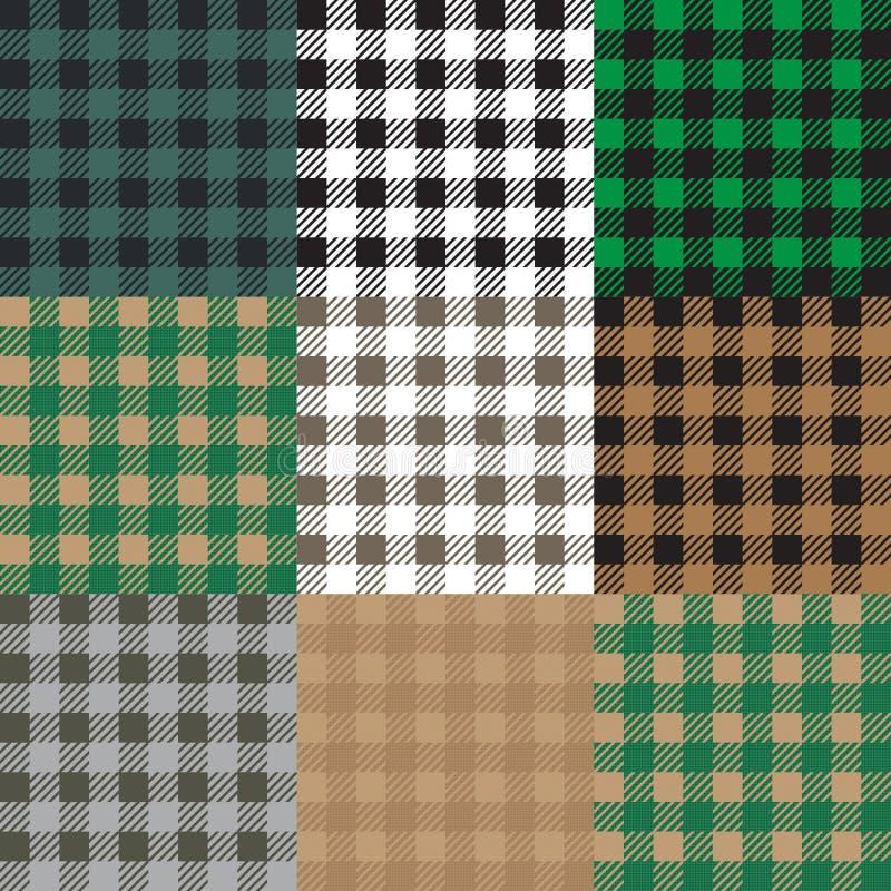 Set 9 gingham, vichy wzory dla pyknicznej koc lub tablecloth projekt, ilustracja wektor