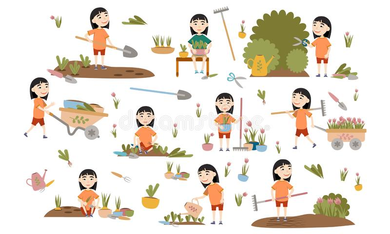 Set Girl Asian gardening plants, weed beds, watering seedlings, pruning bushes and trees, working in the garden. People and garden tools. Vector illustration royalty free illustration