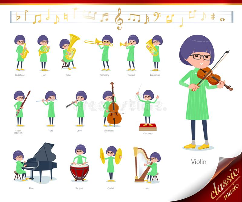 Flat type Green clothes Glasses girl_classic music. A set of girl on classical music performances.There are actions to play various instruments such as string royalty free illustration