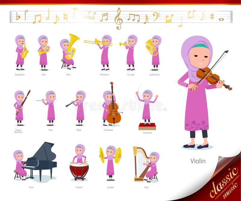 Flat type Arab girl_classic music. A set of girl on classical music performances.There are actions to play various instruments such as string instruments and vector illustration