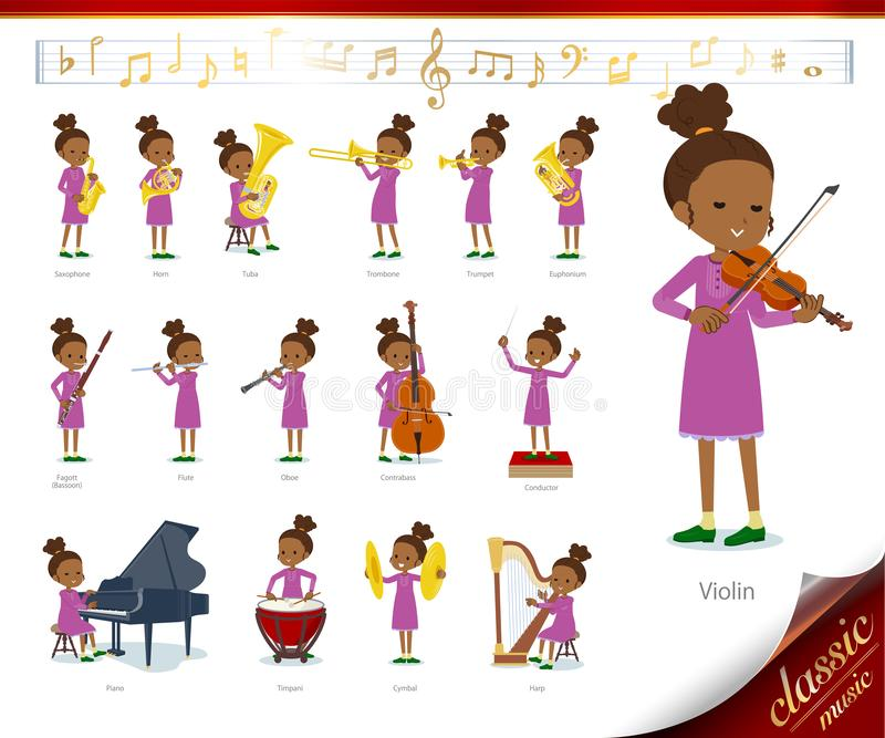 Flat type Curly hair girl black_classic music. A set of girl on classical music performances.There are actions to play various instruments such as string stock illustration