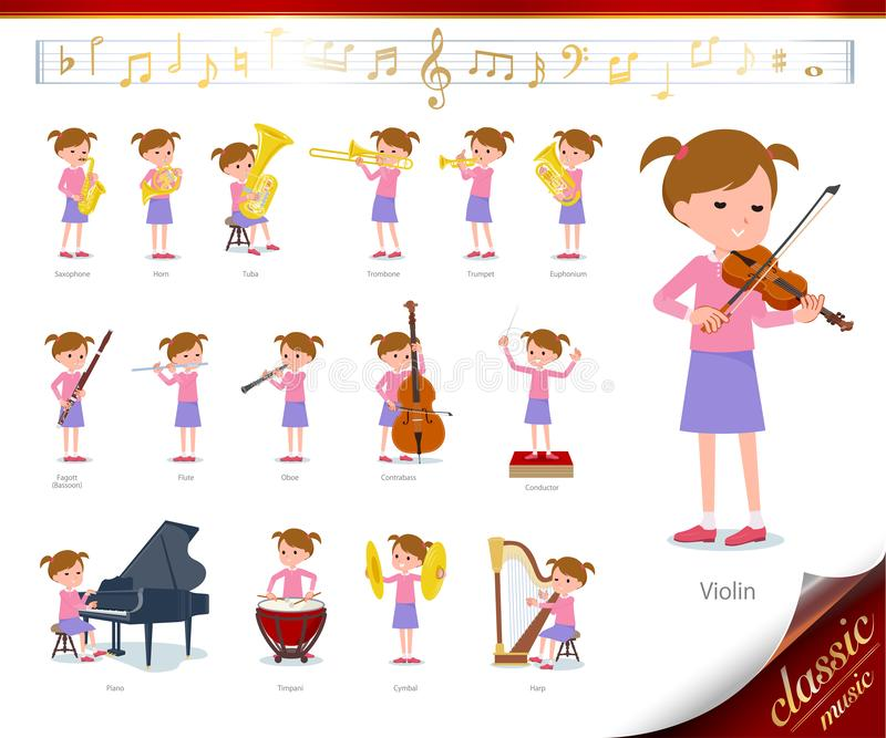 Flat type Pink clothing girl_classic music. A set of girl on classical music performances.There are actions to play various instruments such as string royalty free illustration
