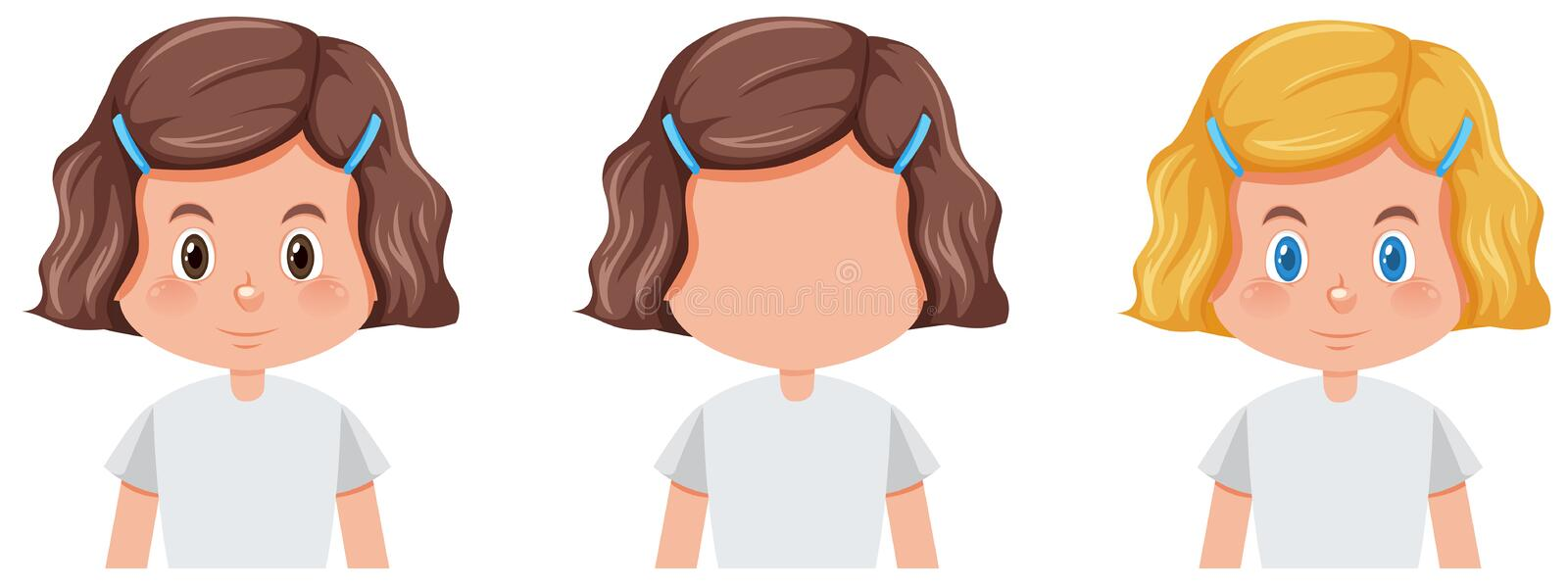 Set of girl with different hairstyle stock illustration