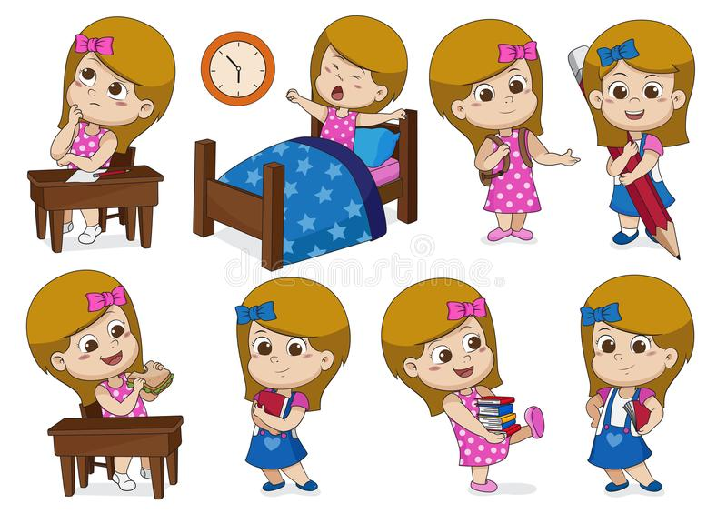 Set of a girl doing activities in one day. Think,wake up,holding a big pencil,eat sandwich,holding a book stock illustration