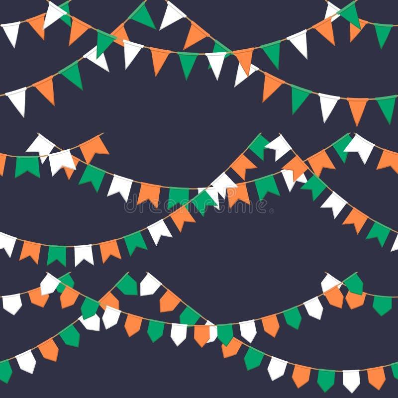Set girlanda z świętowanie flaga przykuwa, zielenieje, biel, pomarańczowi pennons na ciemnym tle, stopka i sztandar dla, royalty ilustracja