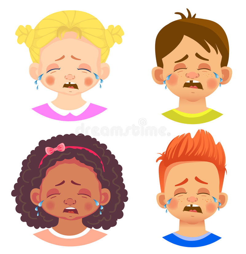 Set of girls and boy character. Children emotions. Facial expression. Set of emoticons. Flat illustration. Cry stock illustration
