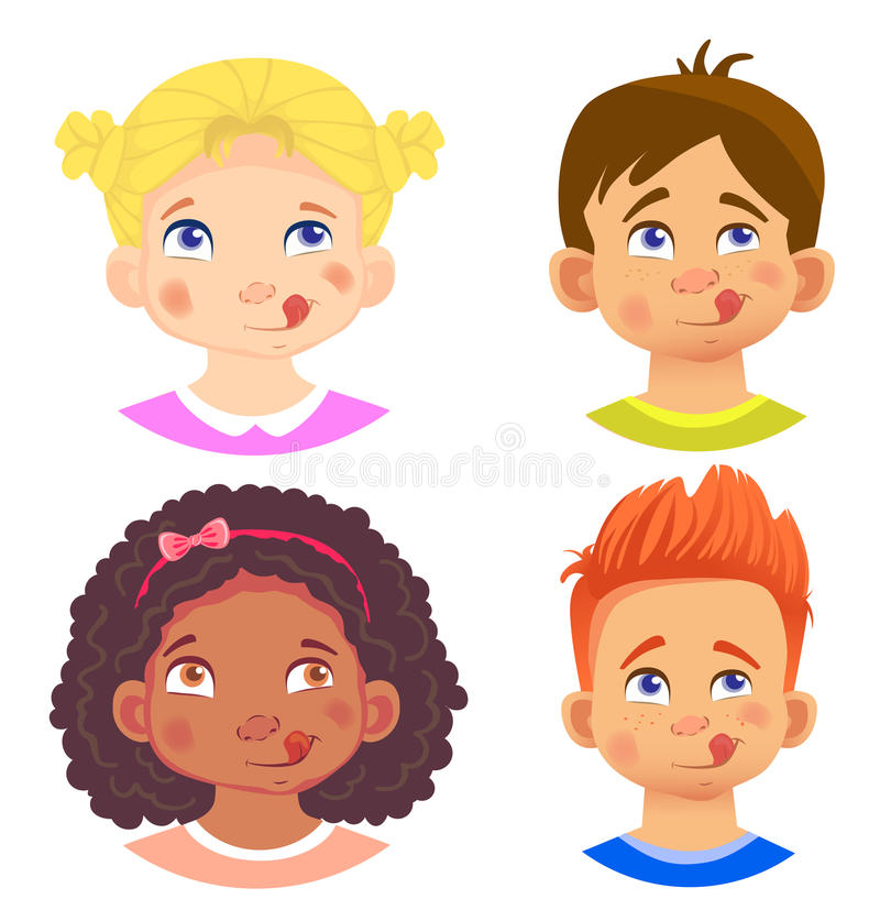 Set of girls and boy character. Children emotions. Facial expression. Set of emoticons. Flat illustration. Yum vector illustration