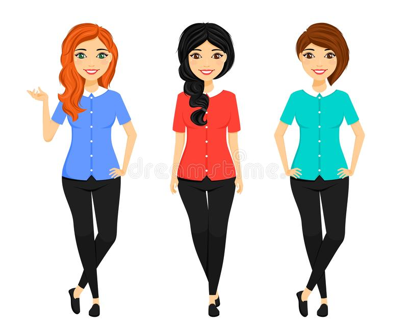 Set, girls with different hairstyles and different hair color. In different poses. Office work. Business and Finance royalty free stock photography