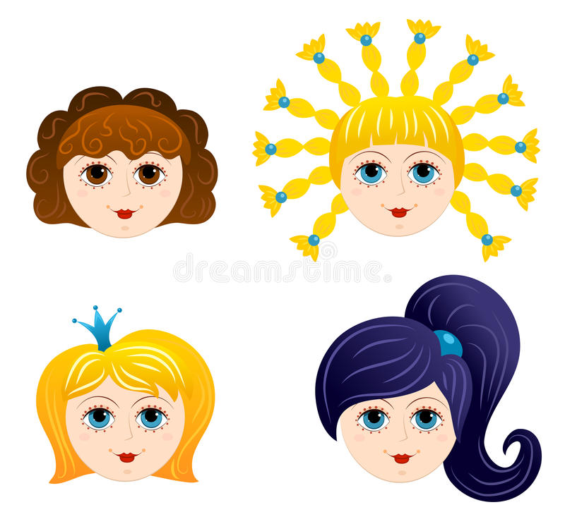 Set Of Girls Faces 1 Royalty Free Stock Images